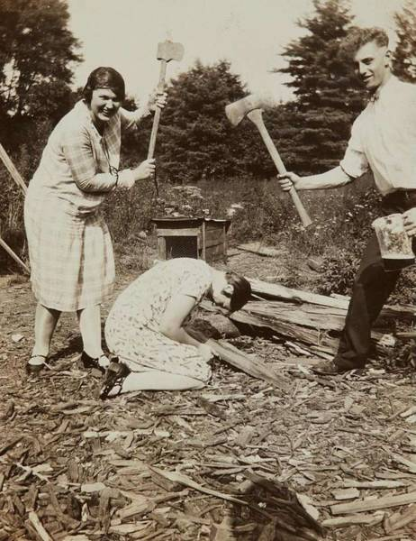 Wall Art - Painting - Man And Woman With Axes Posing Above Kneeling Woman  July 1928 Gelatin Silver Print by Celestial Images