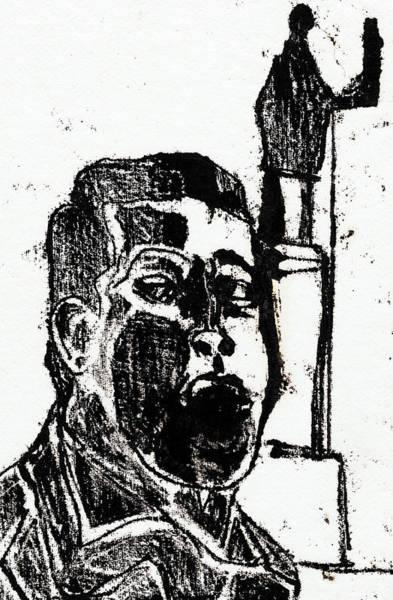 Drawing - Man By A Plinth by Artist Dot