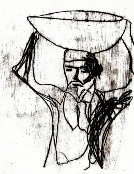 Drawing - Man Carrying A Basket On His Head 3 by Artist Dot