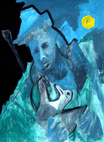 Painting - Man Carrying A Bird by Artist Dot