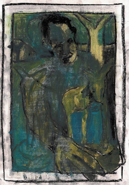 Painting - Man Carving A Deer In Green And Blue by Artist Dot