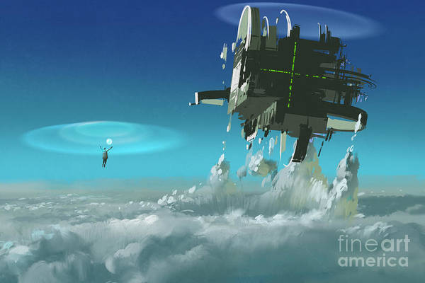 Spells Wall Art - Digital Art - Man Casting The Futuristic Structure by Tithi Luadthong