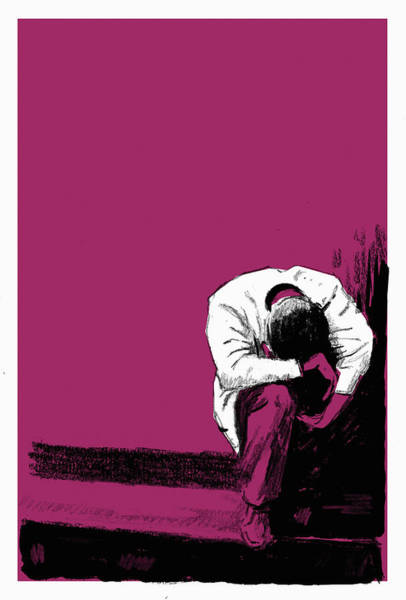 Wall Art - Photograph - Man Curled Up In Despair by Ikon Images