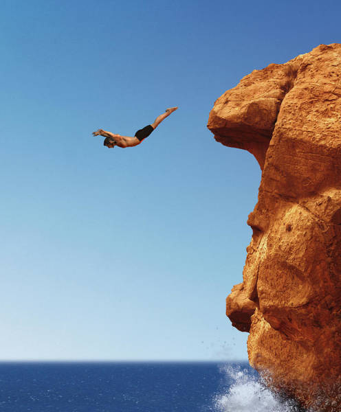 Anticipation Digital Art - Man Diving From Cliff Into Ocean by Barry Downard