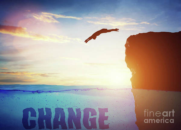 Free Dive Wall Art - Photograph - Man Diving Into Water From High Cliff. Change Concept by Michal Bednarek