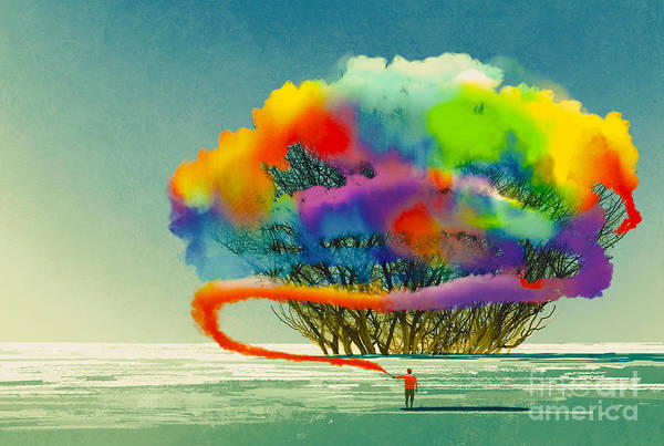 Vibrant Color Wall Art - Digital Art - Man Draws Abstract Tree With Colorful by Tithi Luadthong