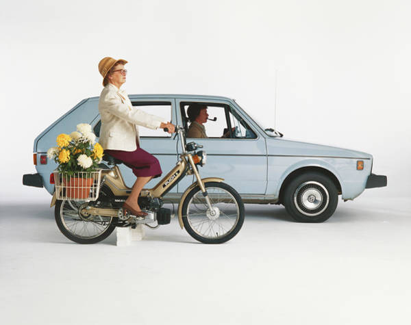 Two People Photograph - Man Driving Car And Woman Riding by Tom Kelley Archive