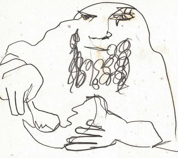 Drawing - Man Eating A Coconut by Artist Dot