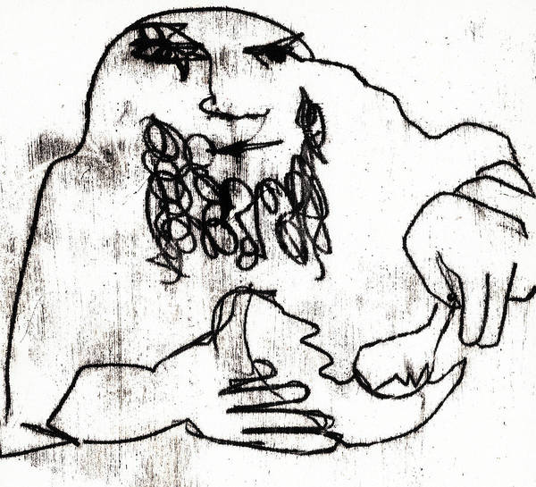 Drawing - Man Eating by Artist Dot