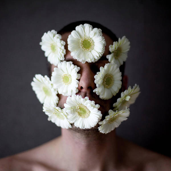 Adult Humor Photograph - Man Face With Daisy Flower by Emmanuelle Brisson
