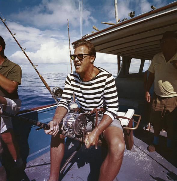 Photograph - Man Fishing From Boat by Tom Kelley Archive