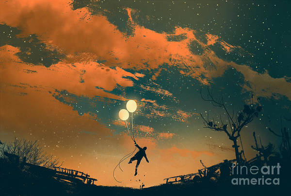 Wall Art - Digital Art - Man Flying With Balloon Lights At by Tithi Luadthong