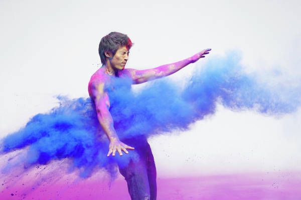 Spray Paint Photograph - Man Getting Blasted With Blue Powder by Tara Moore