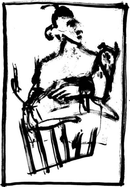 Drawing - Man Holding A Dog by Artist Dot