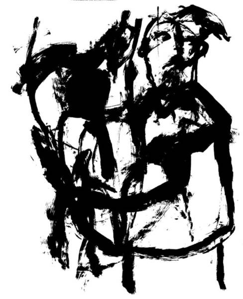 Drawing - Man Holding A Horse by Artist Dot