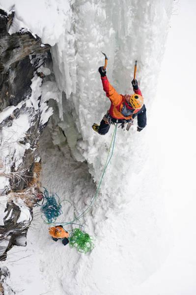 Climbing Photograph - Man Ice Climbing, Raiden, Hokkaido by Hermann Erber / Look-foto