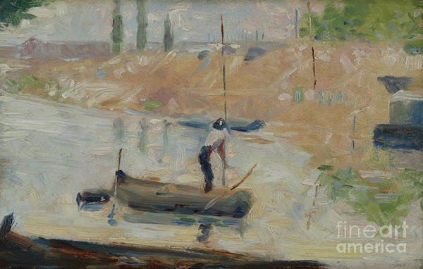 Wall Art - Painting - Man In A Boat, Circa 1884 by Georges Pierre Seurat