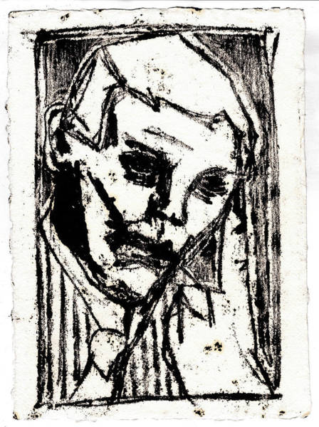 Drawing - Man In A Tie Black Oil Drawing by Artist Dot