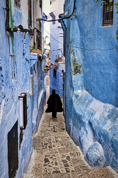 Photograph - Man In Chefchaouen Alley - Morocco by Stuart Litoff