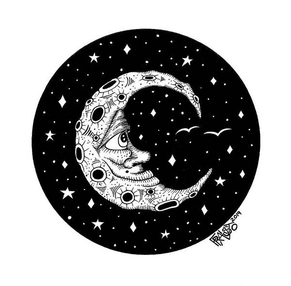 Man In The Moon Drawing Art Print by Rick Frausto