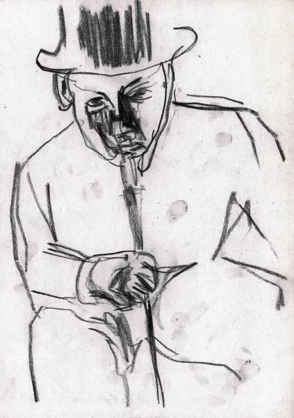 Drawing - Man In Top Hat And Cane by Artist Dot