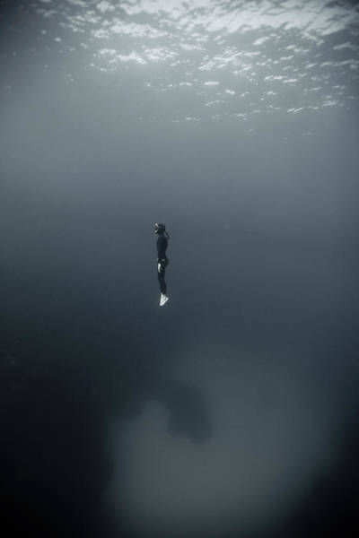 Photograph - Man In Underwater by Underwater Graphics
