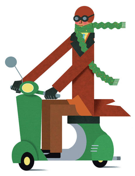 Crash Helmet Digital Art - Man In Warm Clothing Riding Motor by Yenpitsu Nemoto
