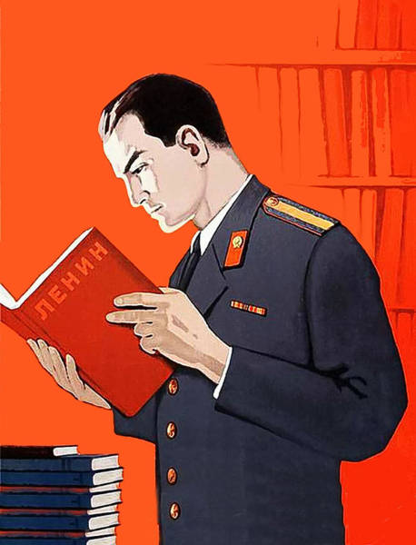 Propaganda Digital Art - Man Is Reading Lenin Books by Long Shot