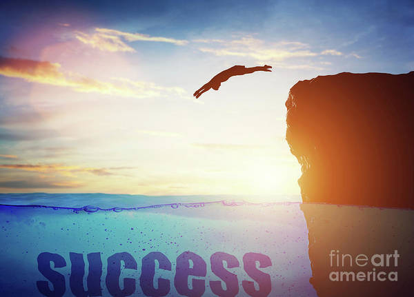 Free Dive Wall Art - Photograph - Man Jumping For A Success. Conceptual by Michal Bednarek