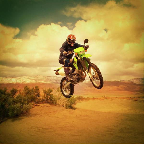 Crash Helmet Photograph - Man Jumping Motocross Bike by Anne-marie Weber
