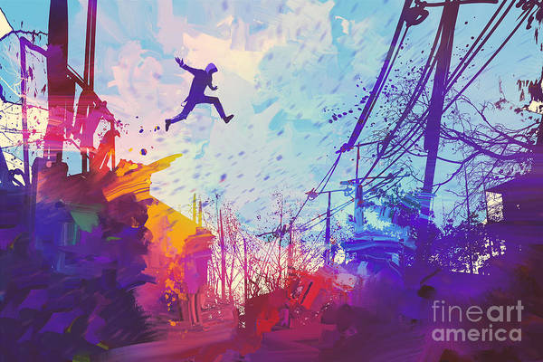 Oil Digital Art - Man Jumping On The Roof In City With by Tithi Luadthong