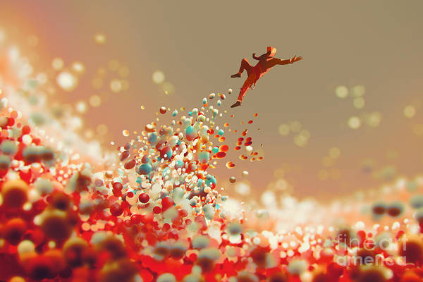 Jumping Wall Art - Digital Art - Man Jumping Up From Lot Of Colorful by Tithi Luadthong