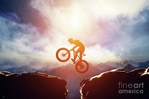 Photograph - Man Jumping With Bike Between Two High Mountains by Michal Bednarek