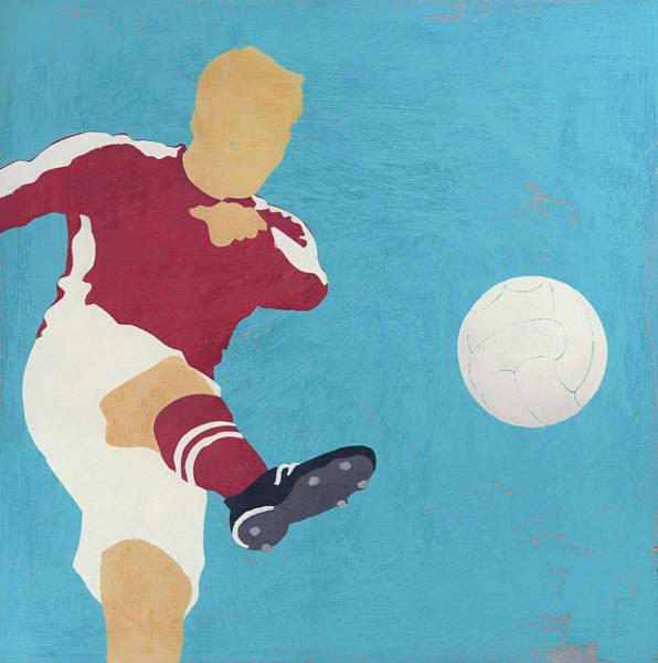 Men Digital Art - Man Kicking Soccer Ball by Andy Bridge