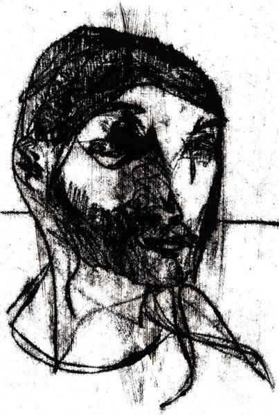Drawing - Man Looking Right by Artist Dot