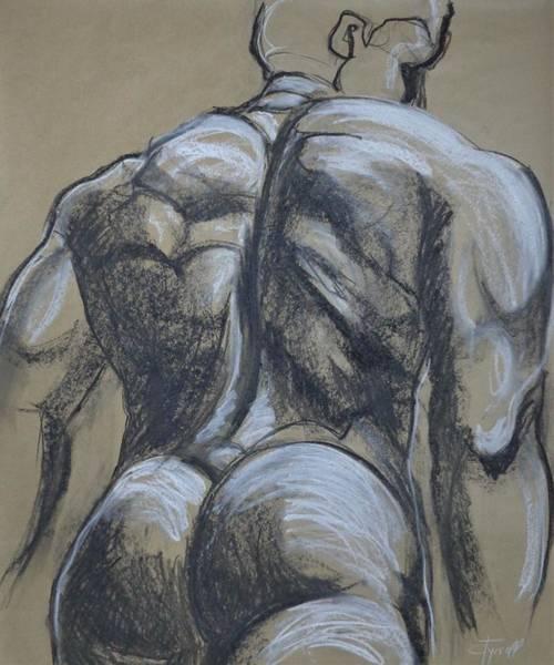 Wall Art - Drawing - Man Nude Figure 5 by Carmen Tyrrell