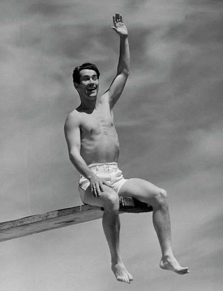 Diving Board Photograph - Man On Diving Board by George Marks