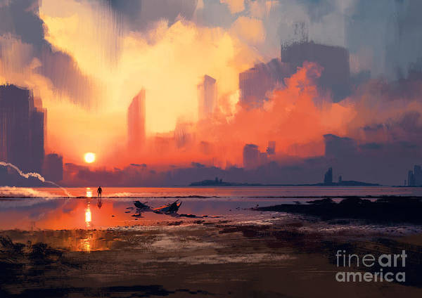 Wall Art - Digital Art - Man On Sea Beach Looking At Skyscrapers by Tithi Luadthong
