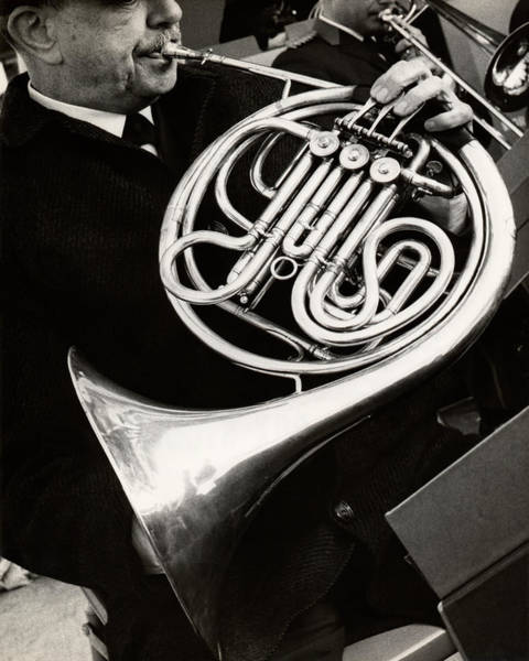 Wall Art - Photograph - Man Playing French Horn by George Marks