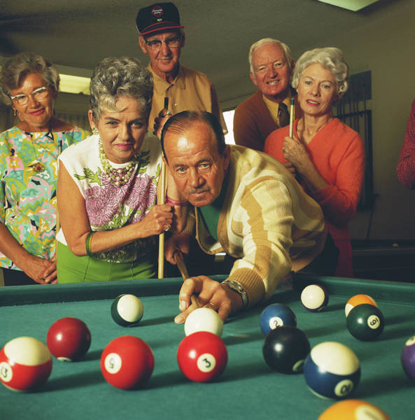 Senior Adult Photograph - Man Playing Snooker, Friends Watching by Tom Kelley Archive