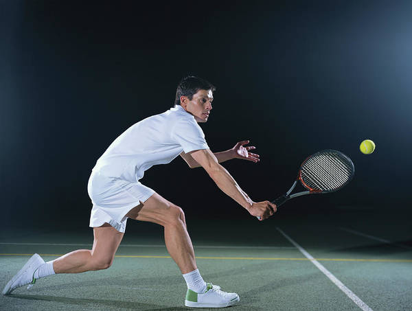 Court Photograph - Man Playing Tennis On Outdoor Court by Bob Thomas