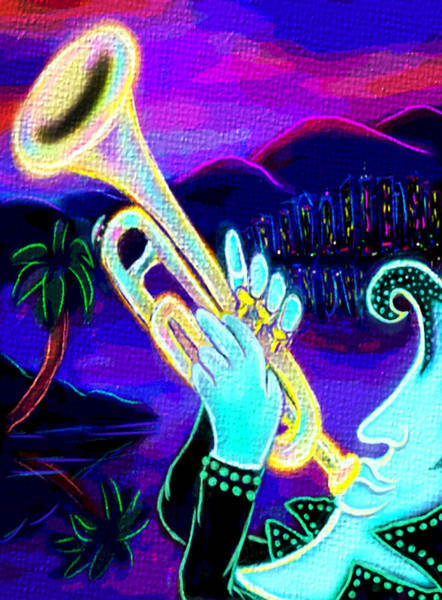 Yellow Trumpet Wall Art - Digital Art - Man Playing Trumpet by Emiko Aumann