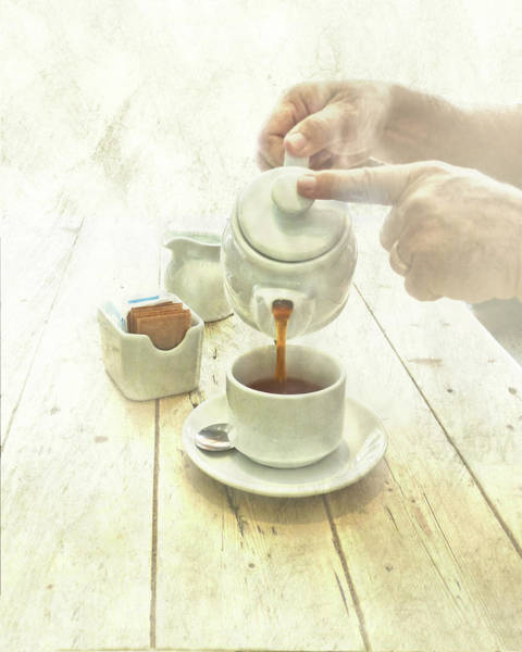 Teapot Photograph - Man Pouring Tea In Cup by Melinda Moore
