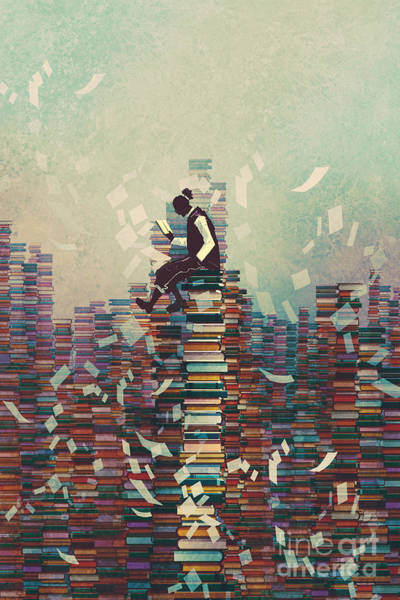 Wall Art - Digital Art - Man Reading Book While Sitting On Pile by Tithi Luadthong
