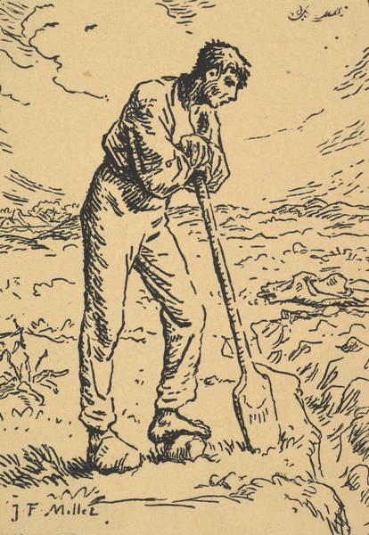 Relief - Man Resting On A Spade by Jean-Francois Millet