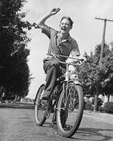 Gesturing Photograph - Man Riding Bicycle, Waving, B&w by George Marks