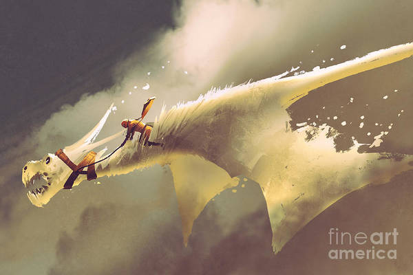 Wall Art - Digital Art - Man Riding On The White Flying Dragon by Tithi Luadthong