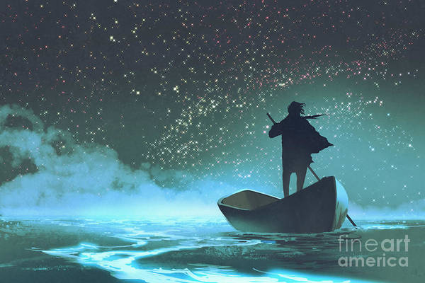 Scenery Digital Art - Man Rowing A Boat In The Sea Under by Tithi Luadthong
