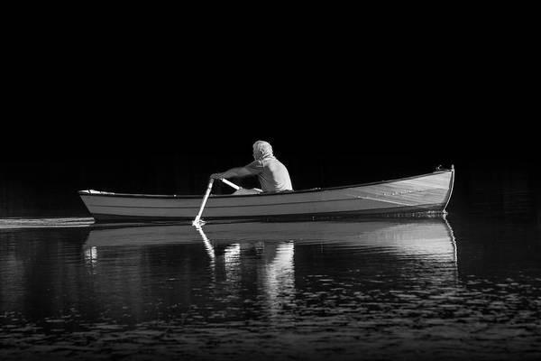 Wall Art - Photograph - Man Rowing On Stoney Lake At Sunrise In Black And White by Randall Nyhof