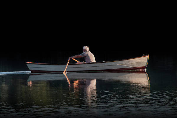 Wall Art - Photograph - Man Rowing On Stoney Lake At Sunrise by Randall Nyhof